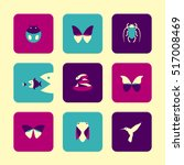 vector flat icons set   animals ...   Shutterstock .eps vector #517008469