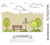 city landscape with bench in... | Shutterstock .eps vector #517021744