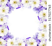 Small photo of Beautiful floral background with orchid Vanda and daffodils