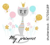 cute kitty princess with golden ... | Shutterstock .eps vector #517036189