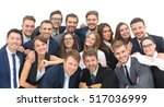 large group of excited business ... | Shutterstock . vector #517036999