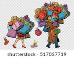 holiday sales  a couple man and ... | Shutterstock .eps vector #517037719