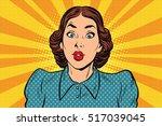 surprised beautiful retro woman ... | Shutterstock .eps vector #517039045