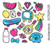 stickers collections in pop art ... | Shutterstock .eps vector #517039135