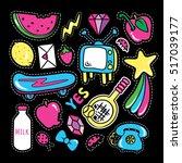 stickers collections in pop art ... | Shutterstock .eps vector #517039177