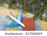 christmas concept   travel. fir ... | Shutterstock . vector #517040359