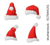 just red christmas santa hat at ... | Shutterstock .eps vector #517044151