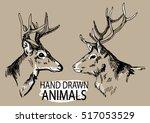 deer head. a set of images.... | Shutterstock .eps vector #517053529