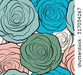 roses seamless pattern with... | Shutterstock .eps vector #517054267
