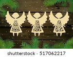 small set of christmas angels.... | Shutterstock .eps vector #517062217