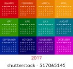 colorful calendar for 2017 year.... | Shutterstock .eps vector #517065145