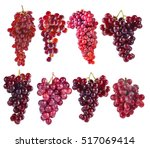red grapes isolated on white... | Shutterstock . vector #517069414