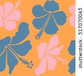 hibiscus flowers in blue ... | Shutterstock .eps vector #517070065