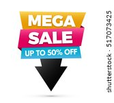 mega sale banner  yellow  blue... | Shutterstock .eps vector #517073425
