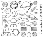 set of hand drawn outline space ... | Shutterstock .eps vector #517082125