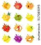 fruits splash set of labels.... | Shutterstock .eps vector #517085095