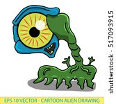 crazy funny  whacky alien space ... | Shutterstock .eps vector #517093915