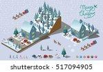 isometric merry christmas... | Shutterstock .eps vector #517094905