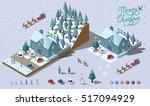 isometric merry christmas... | Shutterstock .eps vector #517094929