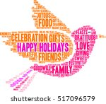 Happy Holidays Word Cloud On A...