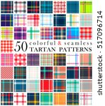 Big set of 50 tartan seamless pattern. Super colorful. Scottish traditional fabric seamless vector. Suitable for children, decoration, home, design, concept, clothing, handicraft & scrap booking.