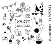 party doodles set. hand drawing ... | Shutterstock .eps vector #517097851