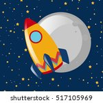 rocket ride to the moon at... | Shutterstock .eps vector #517105969