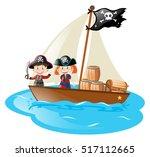 kids in a boat in pirate... | Shutterstock .eps vector #517112665