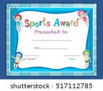 certificate template with kids... | Shutterstock .eps vector #517112785