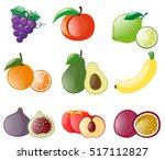 different types of fresh fruits ... | Shutterstock .eps vector #517112827