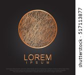 copper circle  realistic metal...