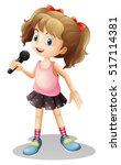 little girl singing song... | Shutterstock .eps vector #517114381