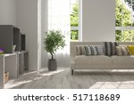 white room with sofa and green... | Shutterstock . vector #517118689