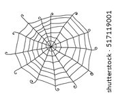 Doodle Spiderweb Isolated On...
