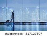 travel by plane concept, double exposure, silhouette of woman in airport - stock photo