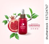 pomegranate collagen and serum... | Shutterstock .eps vector #517124767