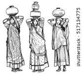 india  women carrying jars on... | Shutterstock .eps vector #517134775