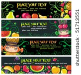 colorful fruit banners. | Shutterstock .eps vector #51713551