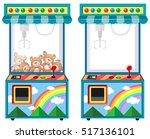 arcade game machine with dolls... | Shutterstock .eps vector #517136101
