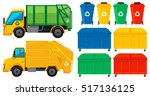rubbish trucks and cans in many ... | Shutterstock .eps vector #517136125