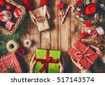 merry christmas and happy... | Shutterstock . vector #517143574
