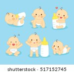 set lovely baby cute  with milk