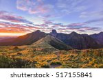 Small photo of Panoramic View of Daba Peaks and Holy Ridge with Colorful Skyat Twilight, Yizhe Mountain, Shei-Pa National Park, Taiwan