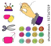 a vector set of sew accessories ...