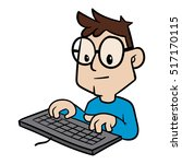 cartoon person typing on... | Shutterstock .eps vector #517170115