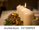1 candle lit for the first... | Shutterstock . vector #517180969