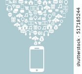smartphone devvice with social... | Shutterstock .eps vector #517185244