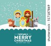 holy family manger scene. merry ... | Shutterstock .eps vector #517187869