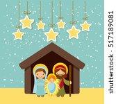 holy family manger scene and... | Shutterstock .eps vector #517189081