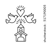 church with doves and heart... | Shutterstock .eps vector #517190005